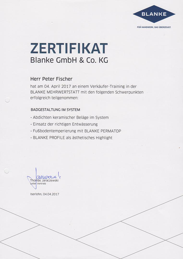 Zertifikat Blanke Badgestaltung 2017