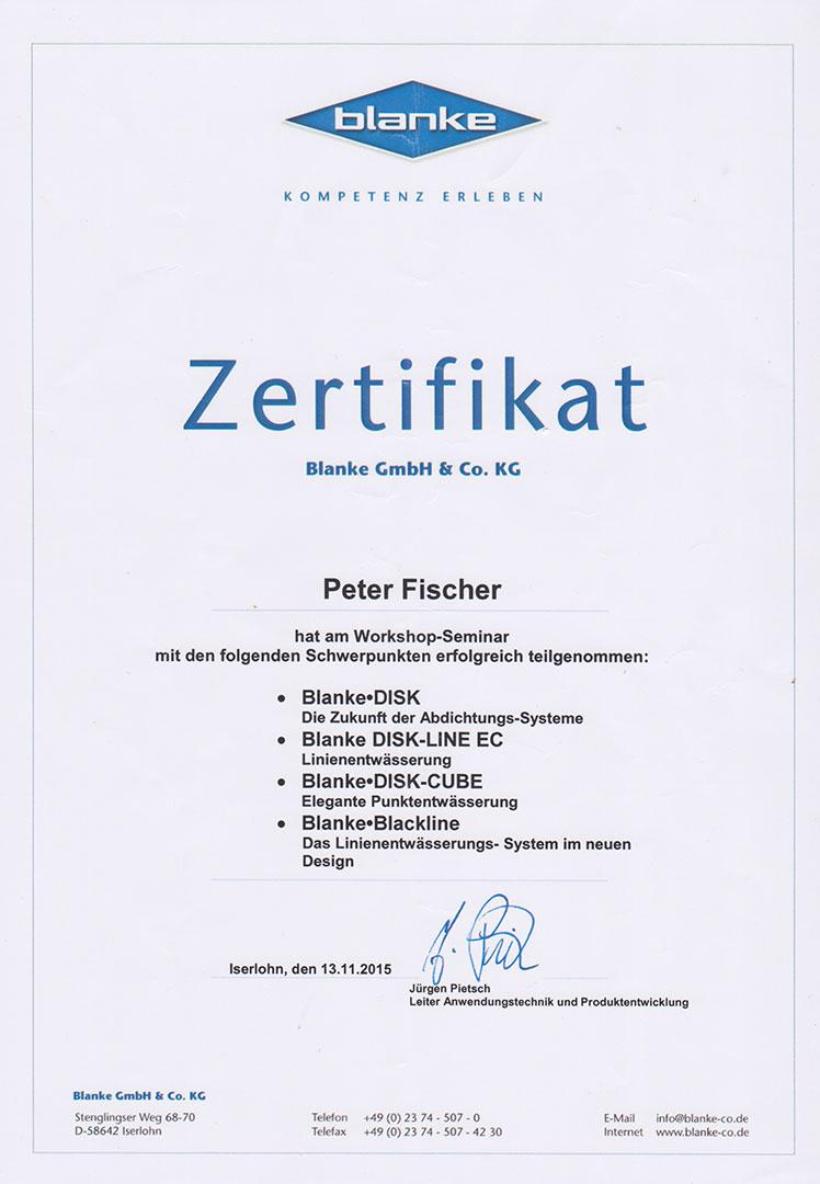 Zertifikat Blanke Workshop 2015