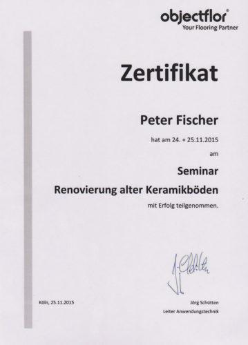 Zertifikat Objektflor Renovierung Keramikboden 2015