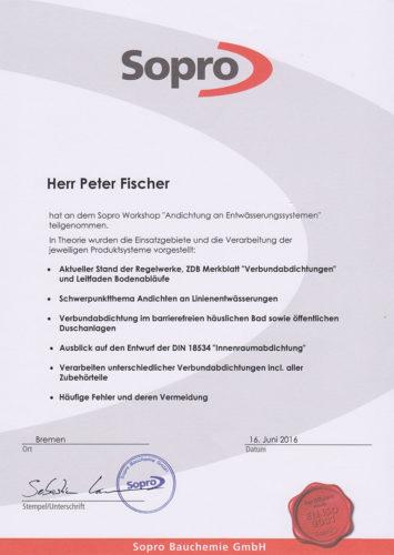 Zertifikat Sopro 2016 Andichtung Entwaesserungssysteme