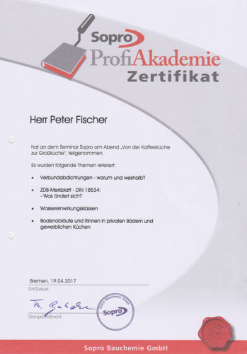 Zertifikat Sopro 2017 Seminar