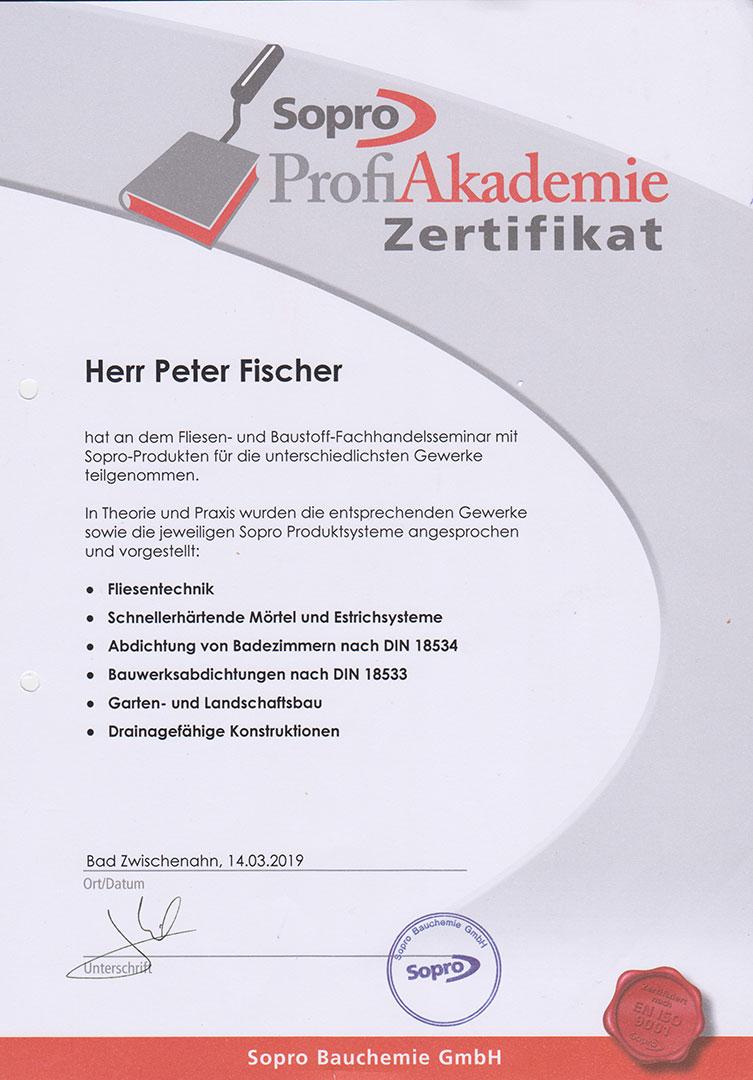 Zertifikat Sopro 2019 Fliesen Baustoff Fachseminar