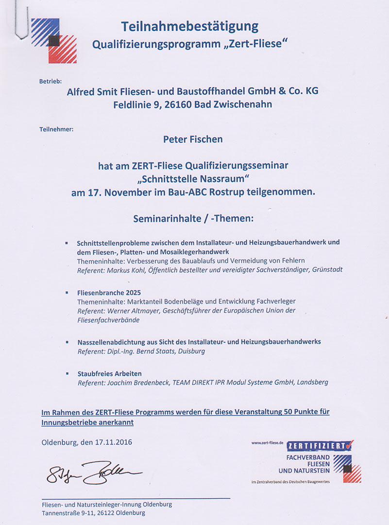 Zertifikat Zert Fliese Schnittstelle Nassraum 2016